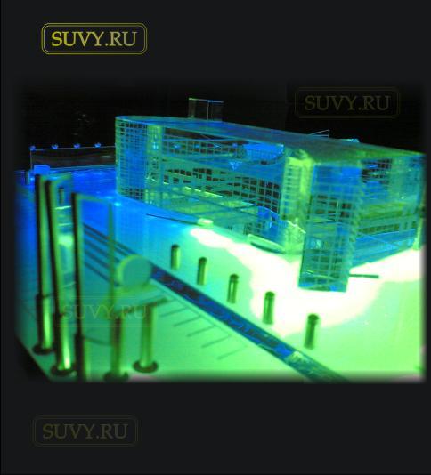 Макет автотехцентра с подсветкой. Изготовлено в мастерской suvy.ru