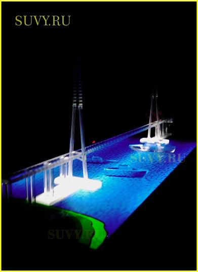 Архитектурный макет моста с подсветкой